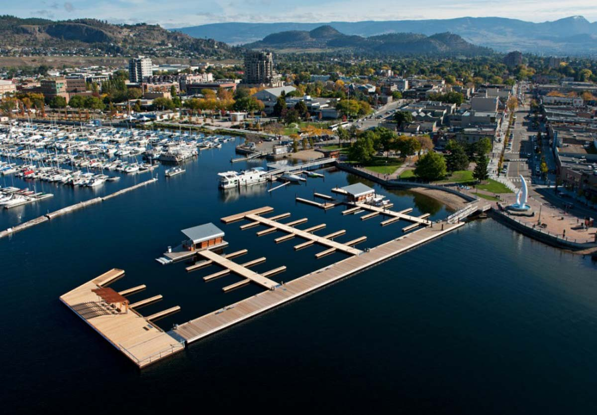 A Kelowna marina is a convenient place where boaters can refuel and take advantage of day moorage facilities to take a break from the water.